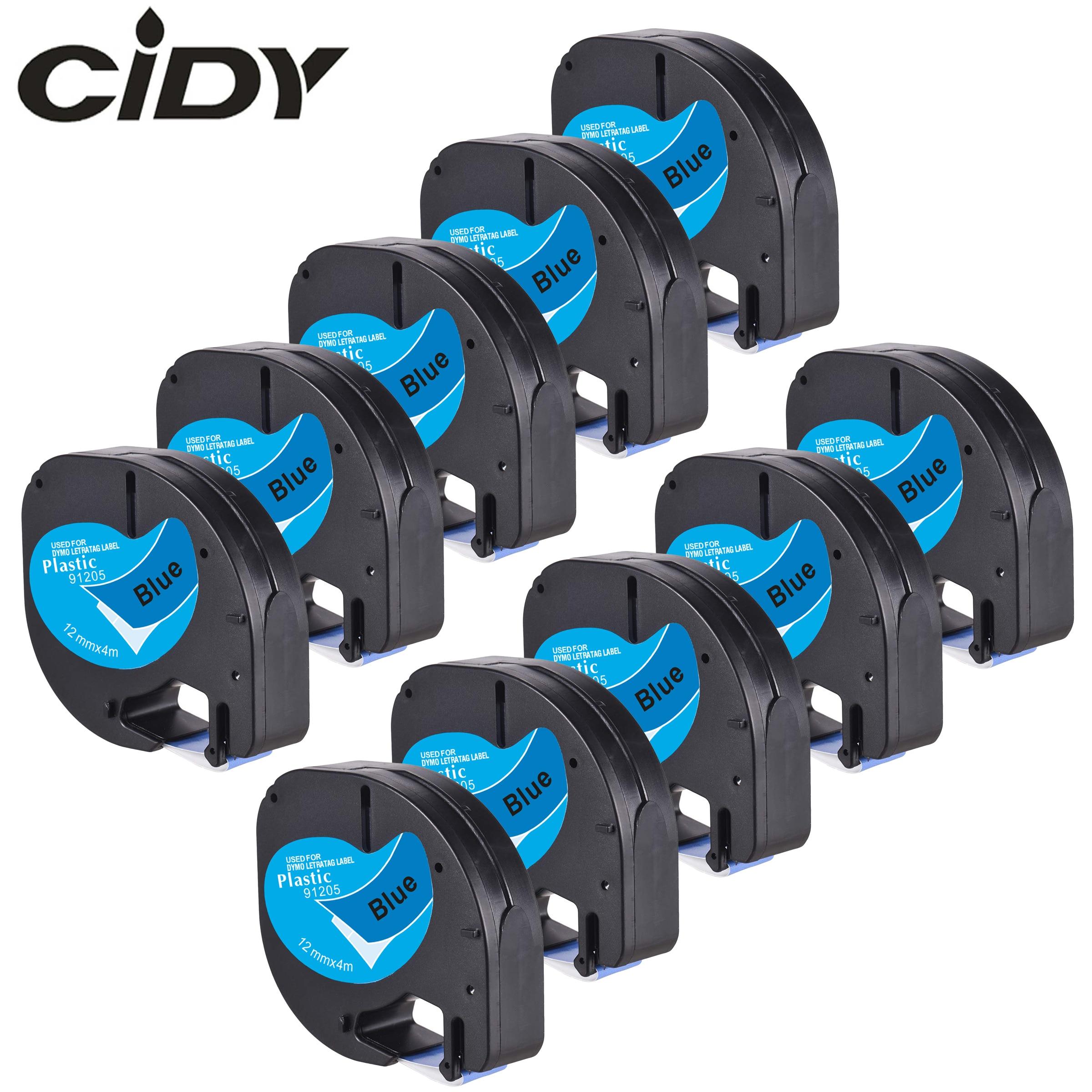 91225 para Impressoras Rótulo para Lt-100h Cidy Preto Azul Plástico Letratag lt 91205 Lt91205 Lt91335 Dymo 10pk 12mm no