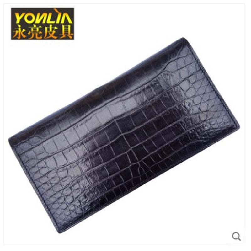 yongliang Leather inside and out crocodile belly long purse 2 fold double open crocodile belly inside and out leather