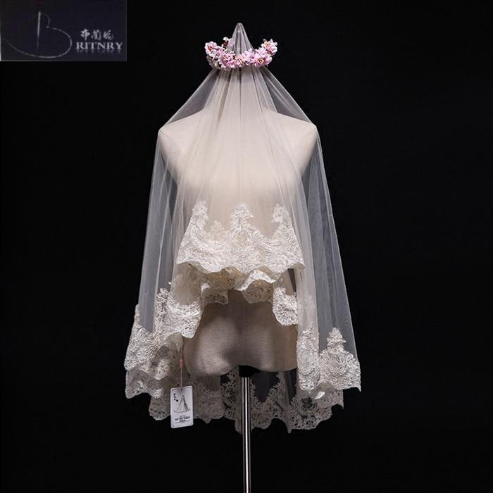 Свадебная вуаль цвета слоновой кости, цвета шампанского, кружевная вуаль