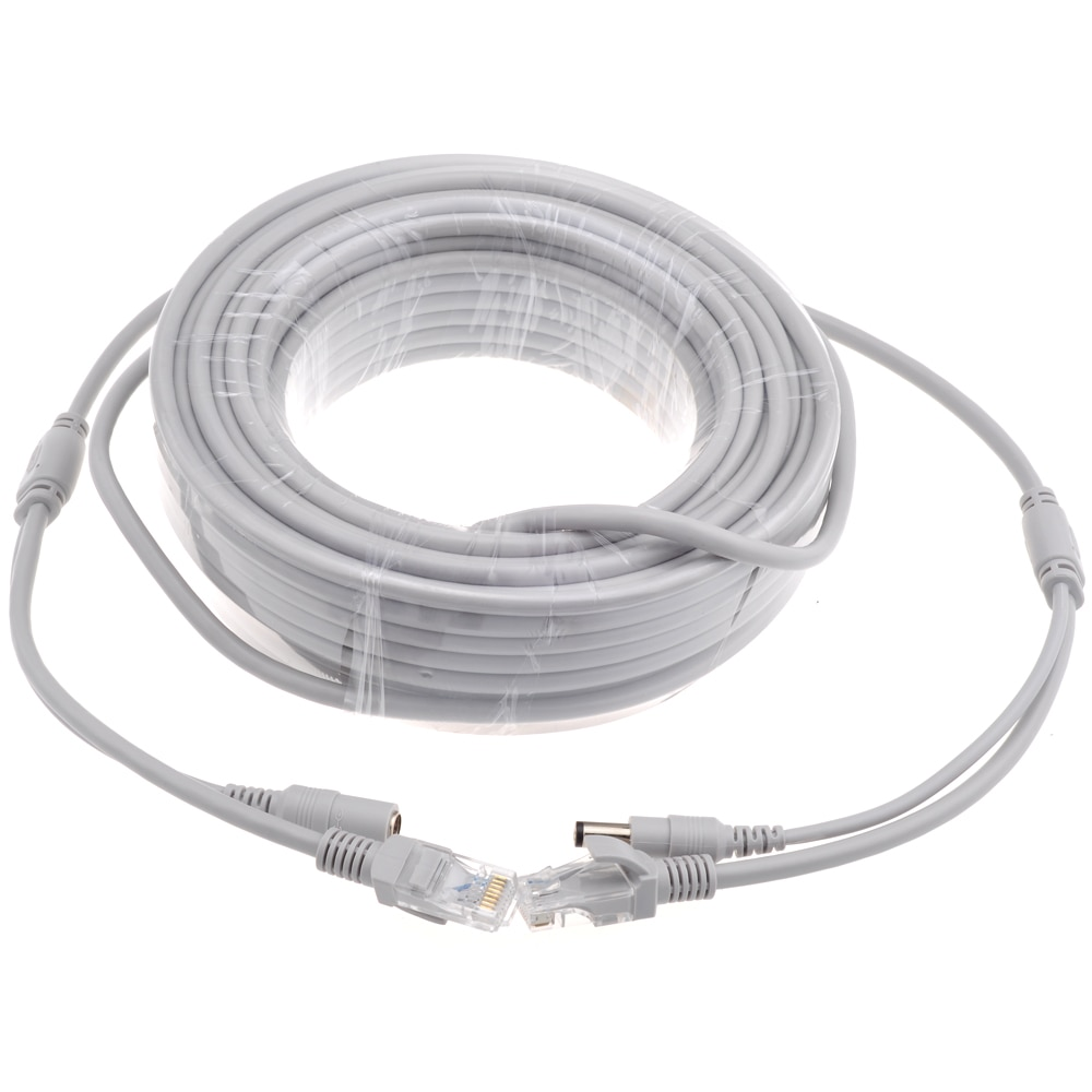ESCAM 5M/10M/15M/20M/30M Optional Gray CAT5/CAT-5e Ethernet Cable RJ45 + DC Power CCTV Network Lan Cable For System IP Cameras enlarge