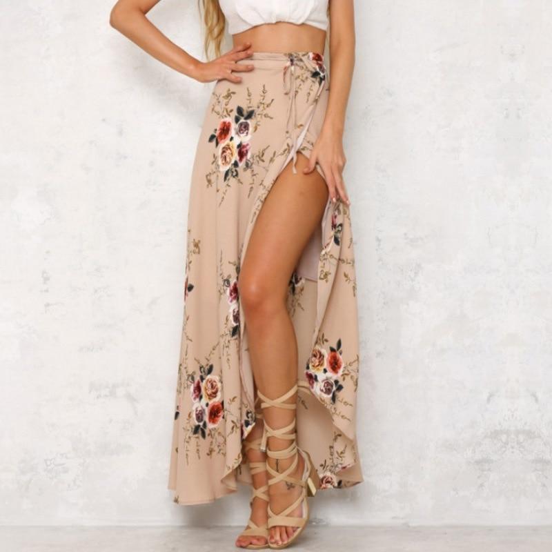 2019 Falda larga Irregular verano Boho Vintage estampado Floral abertura lateral Maxi falda de abrigo chica cintura Faldas Mujer