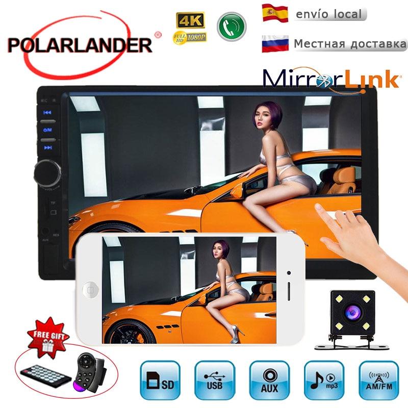 2 Din Spiegel Link Auto Autoradio Bluetooth MP5 Player FM/USB/AUX Radio Kassette Auto Stereo Radio HD touch Screen Unterstützung Hinten Cam