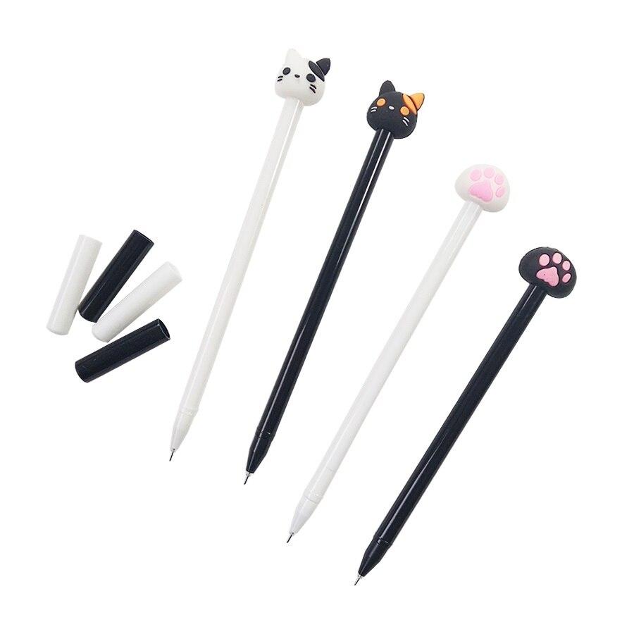 4 unids/lote negro Kawaii gato blanco pluma de Gel de bolígrafos de plástico para Grils regalos suministro único escritorio volver a la escuela y favores de partido