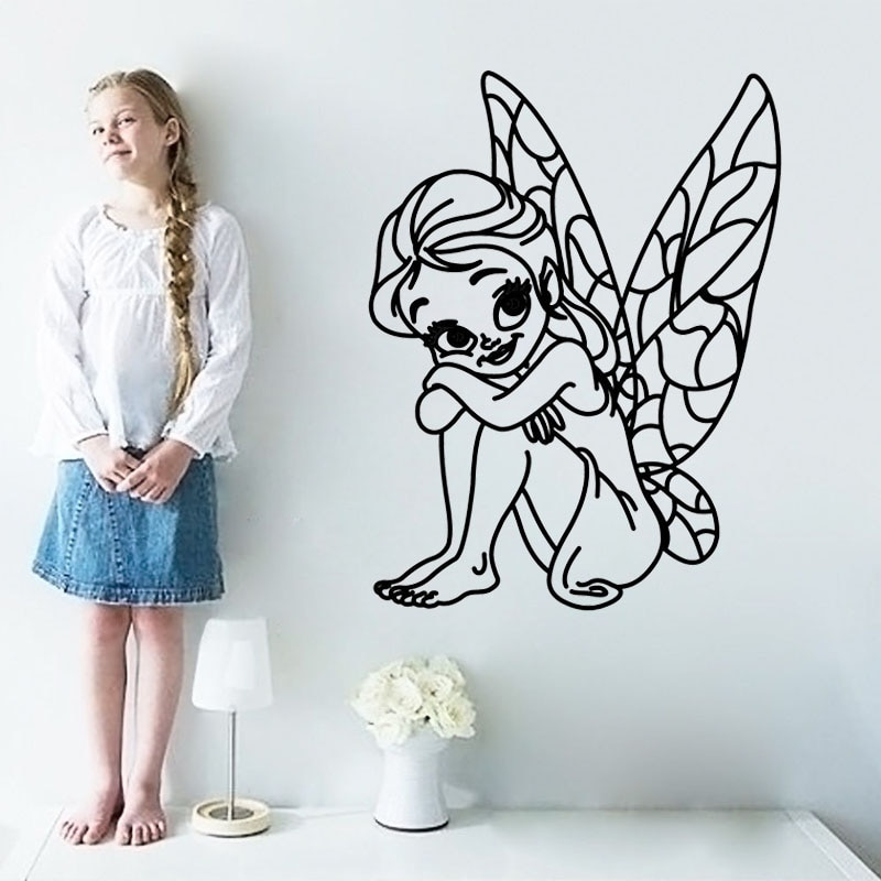 Fairy Cartoon Kids Wall Stickers Home Decor Removable Vinyl Mural Bedroom Decal Baby Children Girls Room Decoration