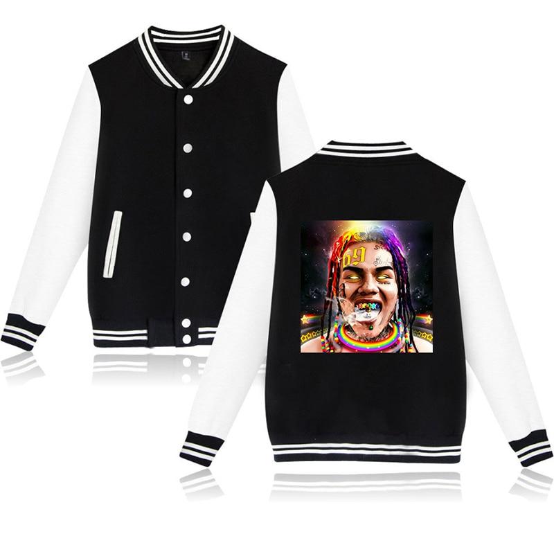 6ix9ine Moda Hip Hop Esporte Das Mulheres Dos Homens de Impressão Jaqueta De Beisebol Moletom Com Capuz Camisolas Casacos de Manga Comprida Casuais Unisex Hoodies Jaquetas