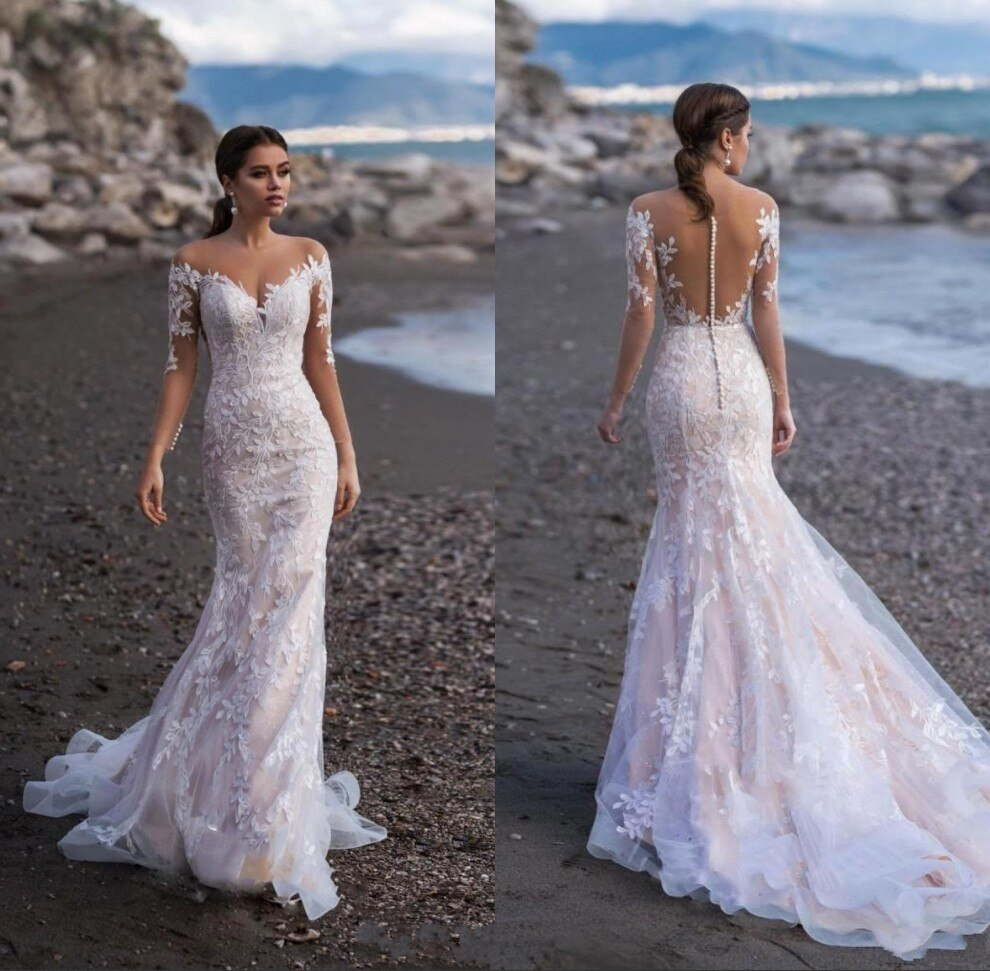 Vestidos de novia de sirena, de encaje, de media manga, con apliques...