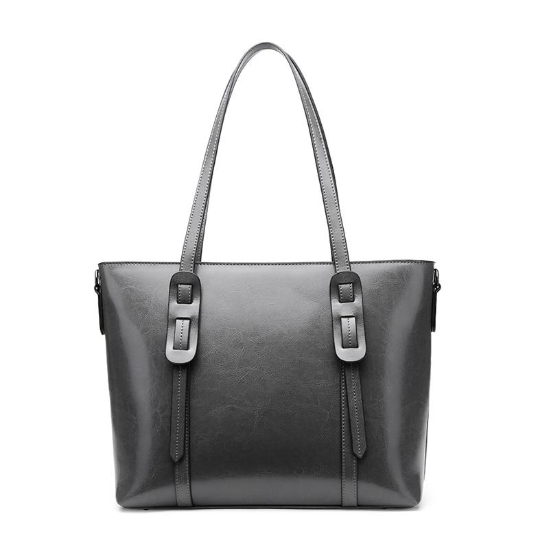 ヨーロッパスタイルショッパーハンドバッグ 2019 ファッションショルダーバッグオイルレザーメッセンジャーオフィスの女性バッグレジャー女性ブランクハンドバッグ