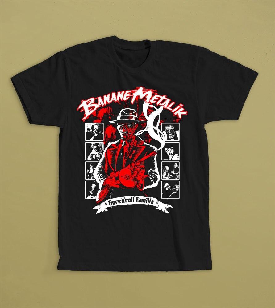 BANANE METALIK Psychobilly Roll Familia banda camiseta tamaño S M L XL 2XL100% algodón pantalón corto casual manga hombres camiseta