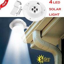 4 LED Solar Powered canalón luz al aire libre/jardín/Patio/pared/valla/Pathway lámpara Solar panel + plástico luz recargable con energía Solar #4132