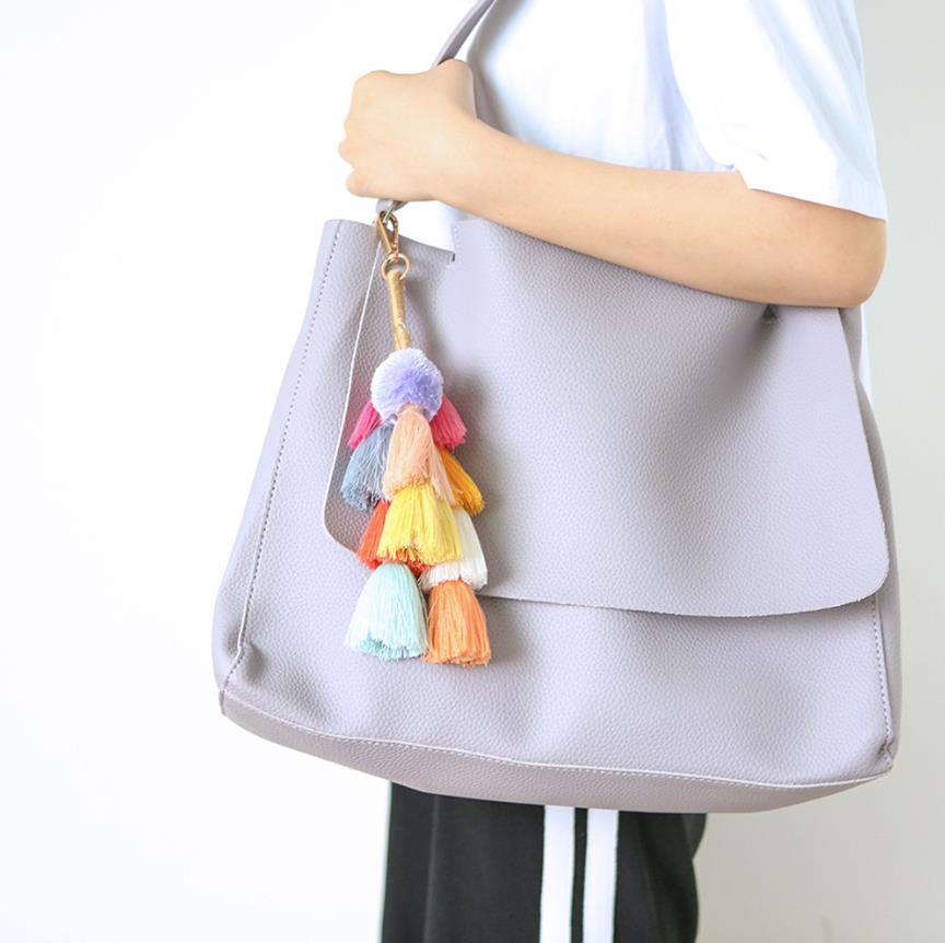 Colorful Handmade Key Chain Bohemian Pompon Layered Cotton Tassels Women Bag Hanging Pendant Jewelry Car Accessory