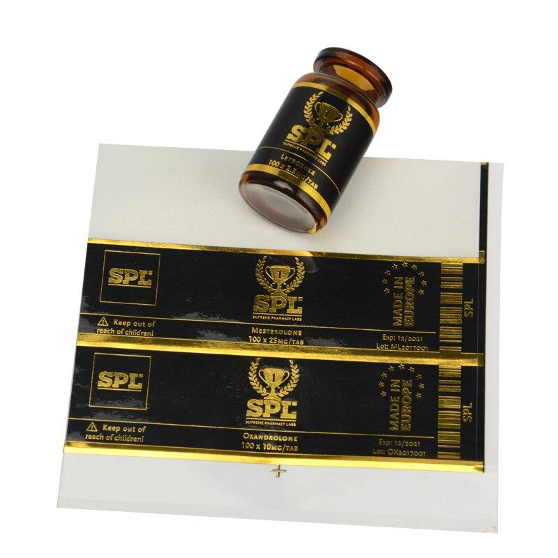 Fabricante barato de etiquetas adhesivas Plastisol impresión por transferencia térmica con logotipo personalizado de letras de lámina dorada en papel o PVC transparente