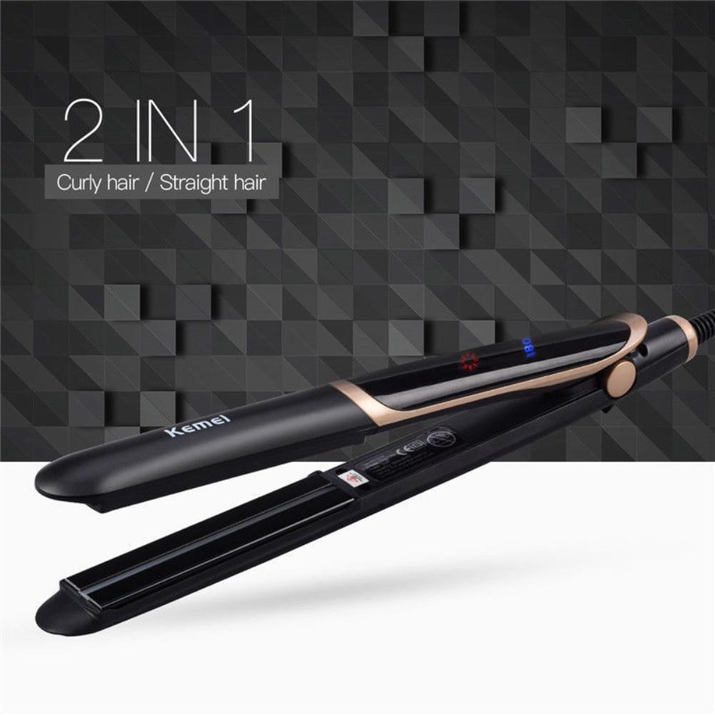 Professional Ceramic Hair Straightener Magic Curler Comb 2 In 1 Infrared Flat Iron Hair Curlers Beauty Salon Tools cepillo pelo