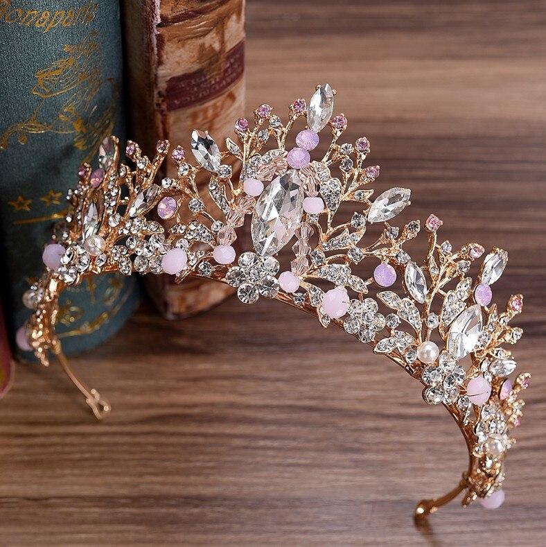 2020 European Pink Green Crystal Big Gold Crown Headwear Bridal Wedding Hair Accessories Jewelry Bride Tiaras Princess Crowns