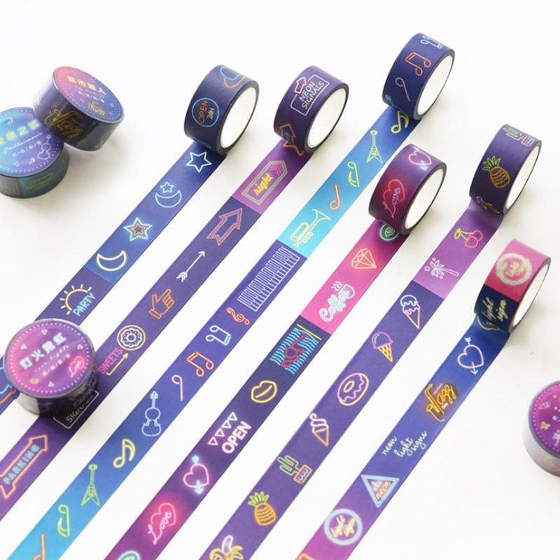 1 Pcs Cute 20mm*7m Japanese Colorful Rainbow Light Shining Star Washi Tape Decorative Masking Tape Scrapbooking Stationery