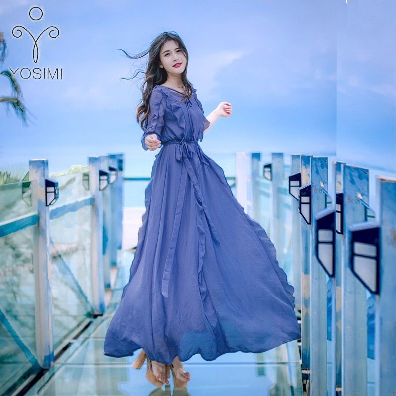 YOSIMI 2019 Summer Long Women Dress Maxi Elegant Ruffles Fairy Short Sleeve Bule Chiffon Dress Tunic For Travel Bohemian Dresses