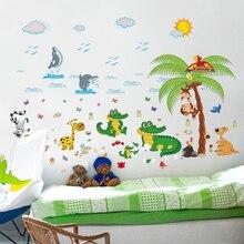 Autocollants muraux pour chambre denfant   stickers muraux mignons crocodile, dessin animé arbre de singe, autocollants muraux pour chambre de bébé, photos murales amovibles