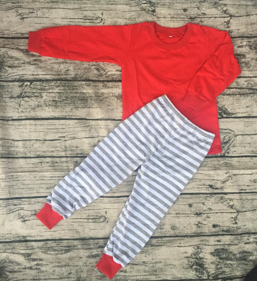 Fall baby gray stripe pant match red shirts pajamas boutique children clothing cheap wholesale