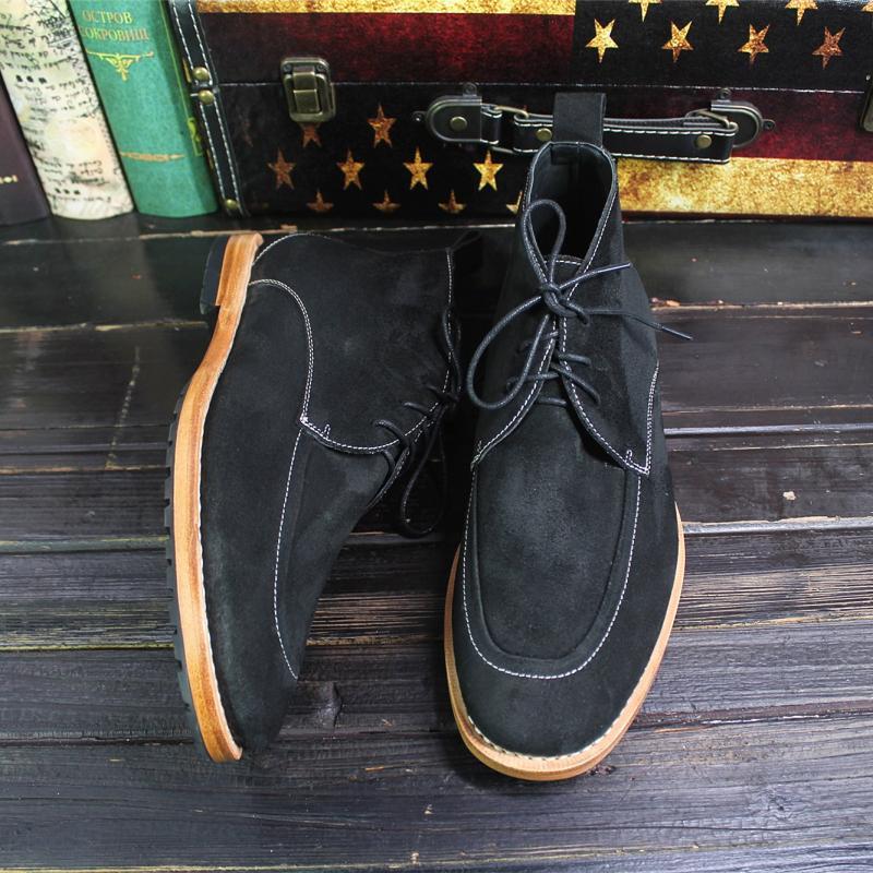 Sipriks-حذاء إيطالي فاخر من جلد الغزال للرجال ، حذاء صحراوي ، جلد البقر المدبوغ ، أسود ، مخيط ، علوي ، 45