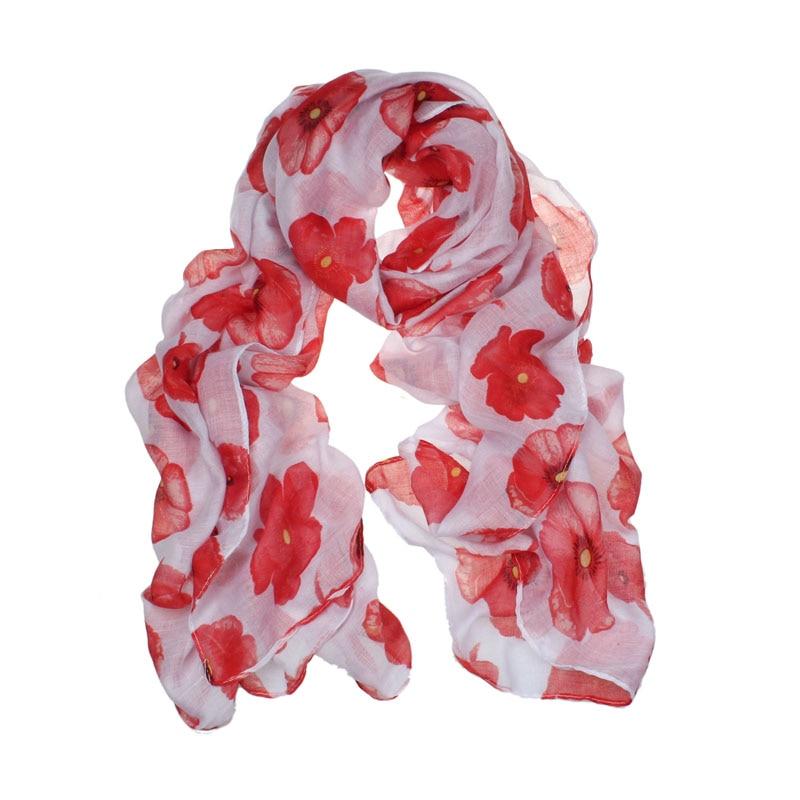 New Red Poppy Imprimir Longo Lenço Flor Praia Senhoras Envoltório Roubou Xaile Y788