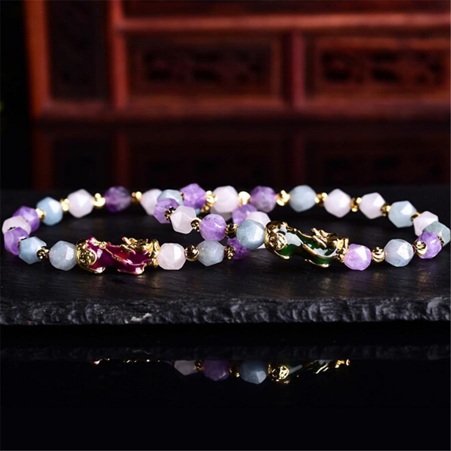 Dropship 2019 novo natural facetado roxo contas de cristal mudança cor pixiu charme pulseira vietnamita areia ouro feminino jóias presente