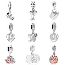 2019 nouveau 1 pièce en métal européen 18 5 60 ans amour tasse fleur bricolage perle ajustement Pandora breloques Bracelet original pour femmes hommes F160