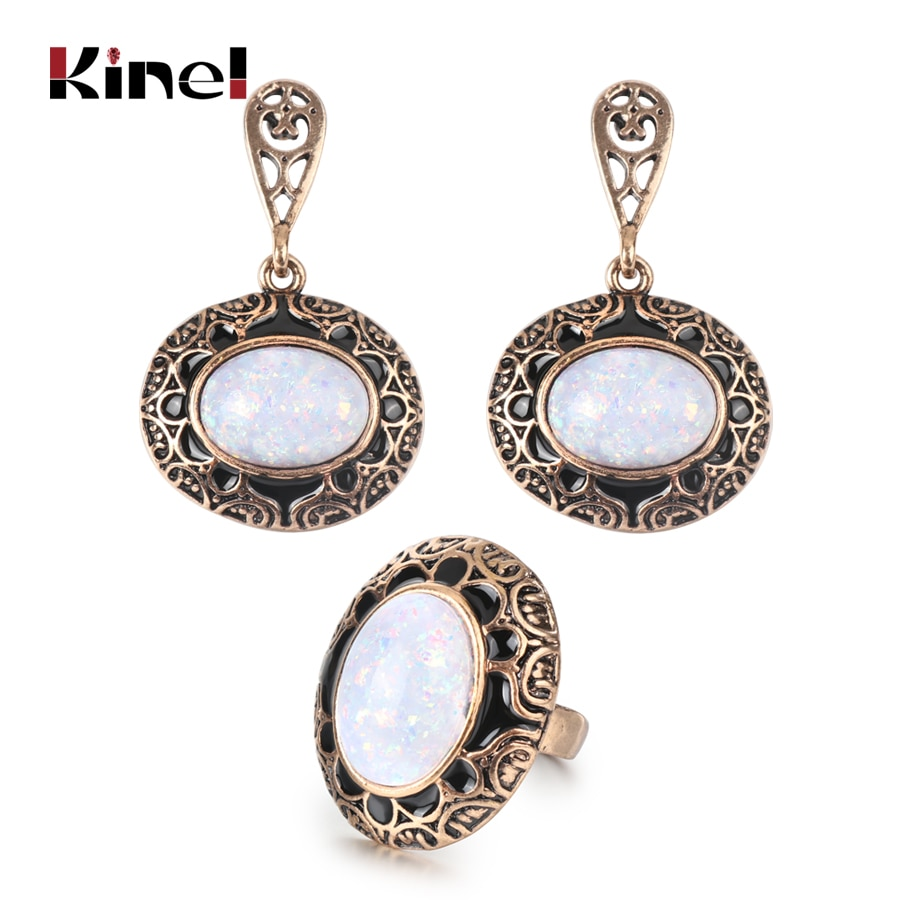 Kinel caliente Vintage pendientes de piedra ópalo y anillos de moda conjunto de joyería para mujer de esmalte negro antiguo oro joyas de Bohemia