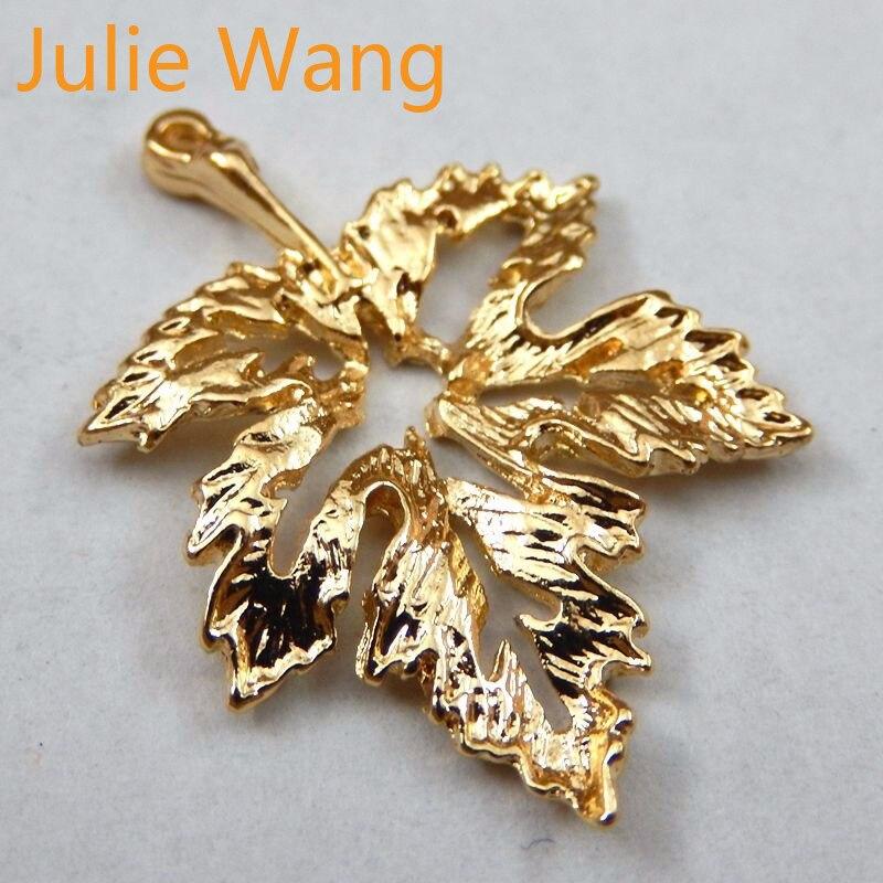 Julie Wang, 15 unidades por lote, colgante abalorios joyas en forma de gota de aleación de oro y Zinc, pendiente para manualidades, regalo DIY 39729