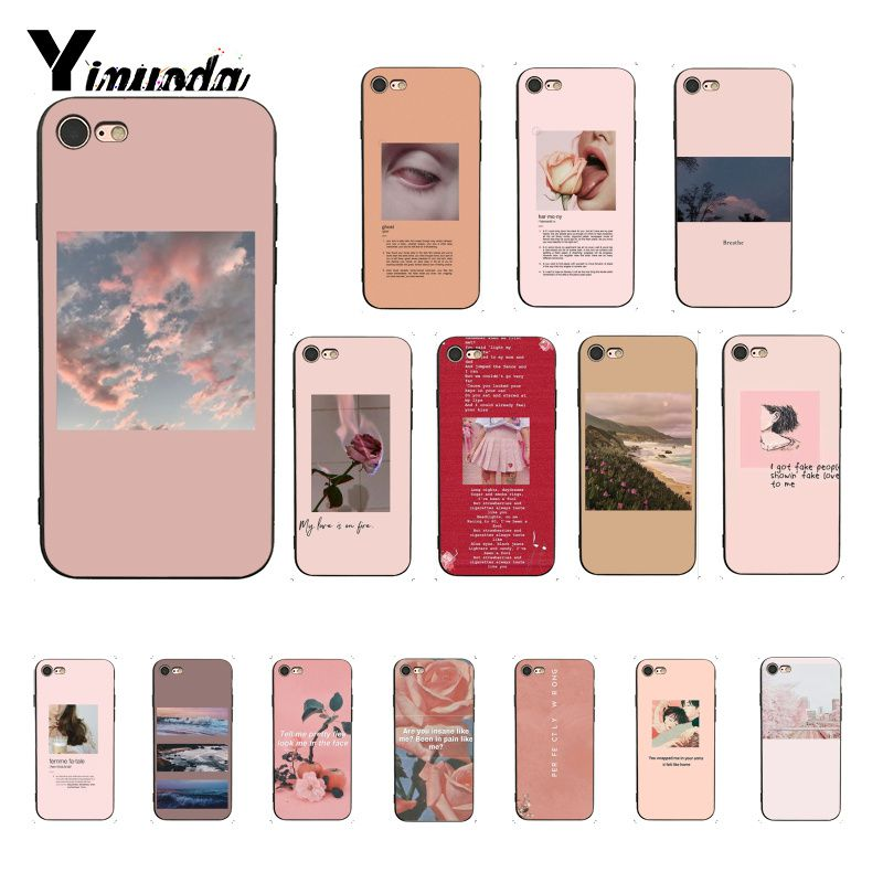 Funda Yinuoda Rosa estética con letras estéticas para iphone SE 2020 8 7 6 6S 6Plus X XS MAX 5 5S SE XR 10