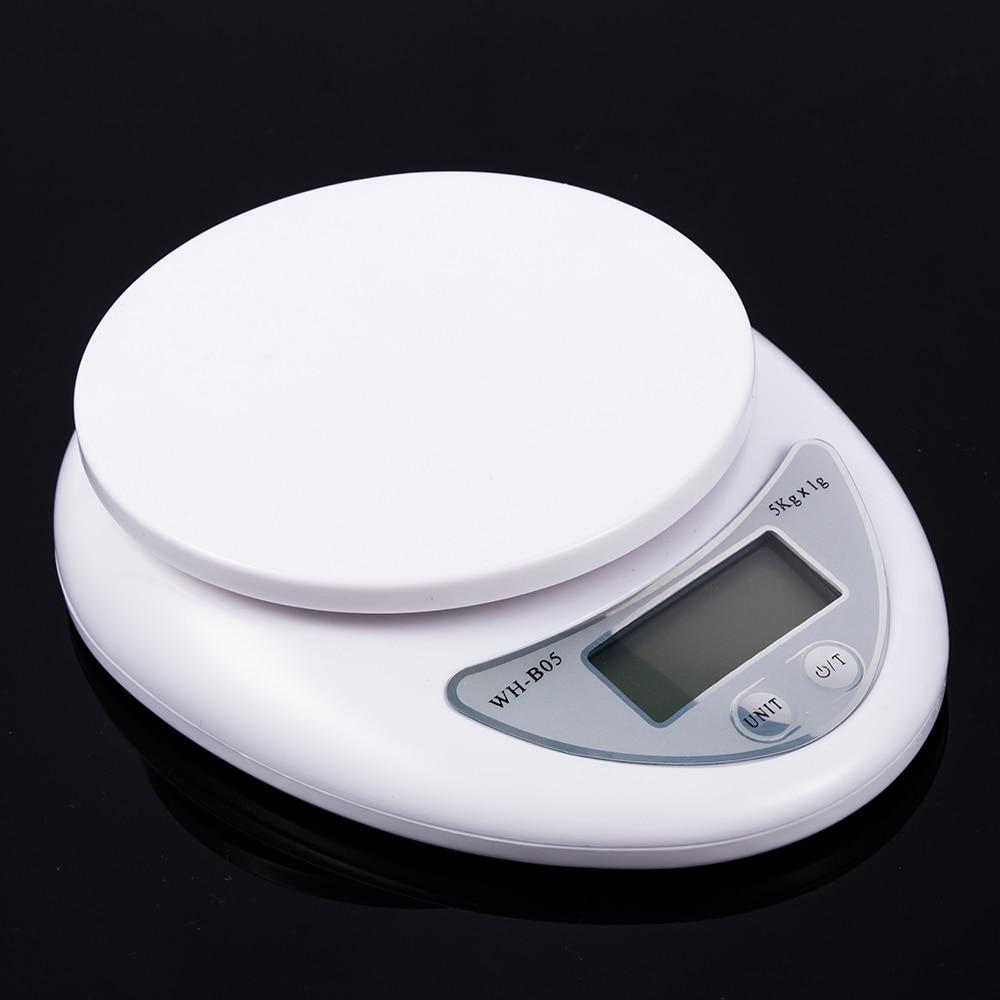 Báscula de 5kg para alimentos, báscula de medición, báscula electrónica LED, Sensor de medidor de tensión de alta precisión de Color blanco