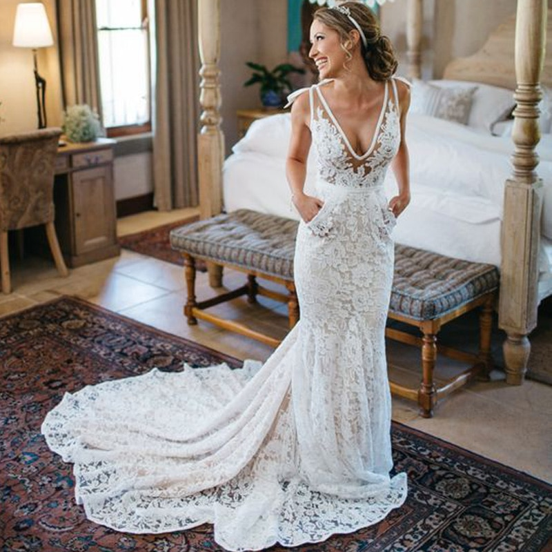 Gorgeous Deep V Neck Lace Mermaid Wedding Dresses Custom Made Robe De Mariee Backless Long Train Bridal Gown Buy At The Price Of 119 00 In Aliexpress Com Imall Com