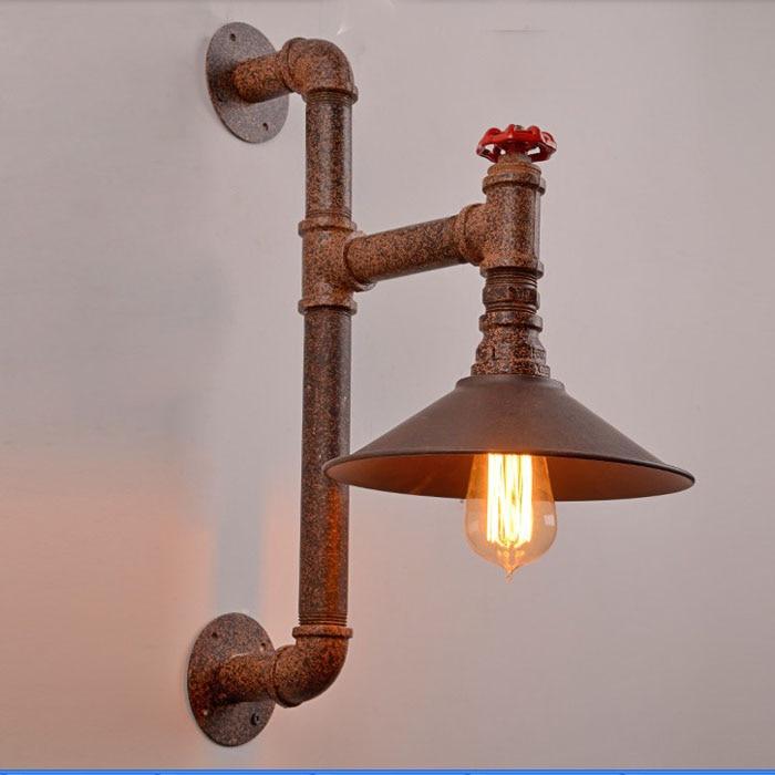 Lámpara de pared de tubo Vintage de hierro Wroguht, lámpara de pared de hierro Edison incandescente