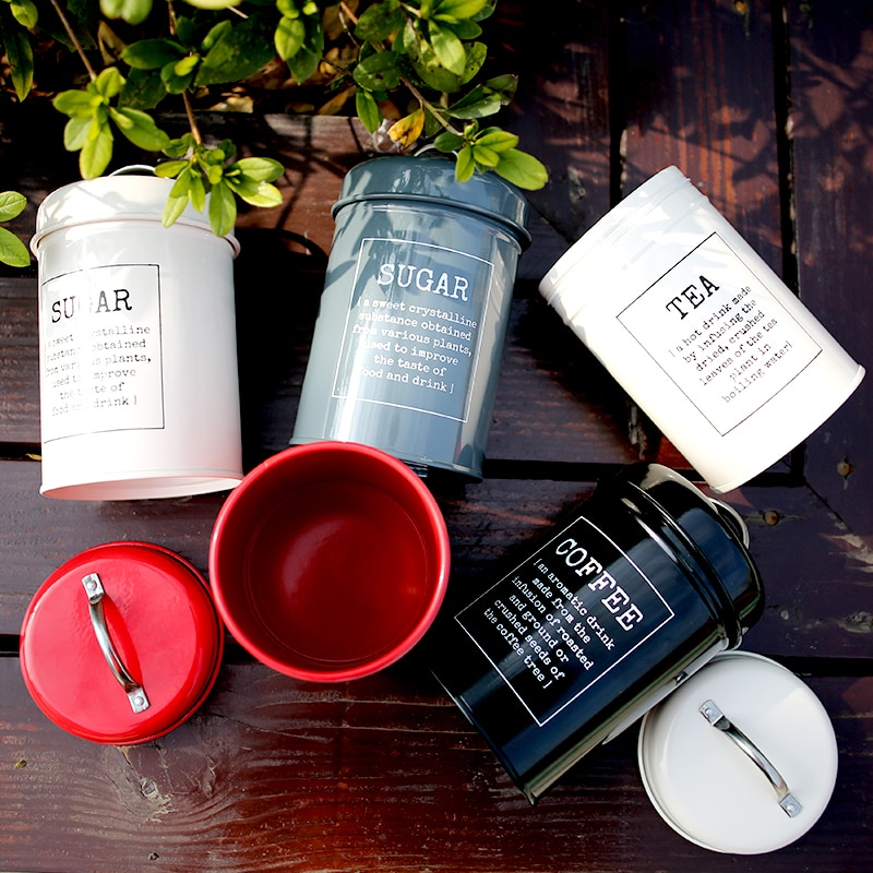 Pote de metal colorido para armazenar, pote minimalista clássico para armazenar garrafa nórdica, organizador para chá de café, açúcar, de metal