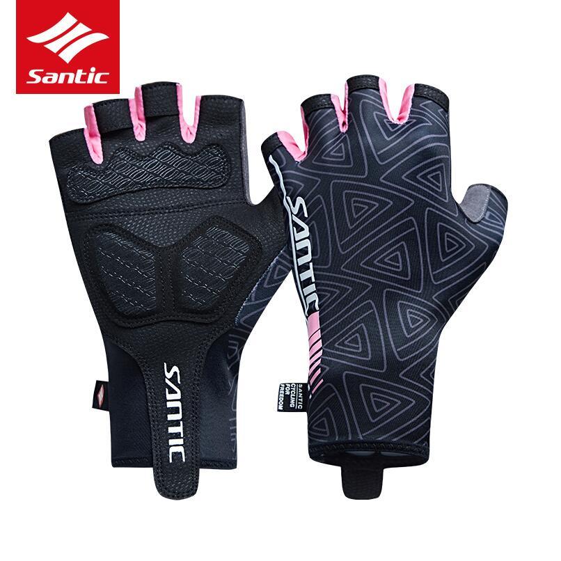 Santic guantes de ciclismo para mujer medio dedo transpirable protección solar preservación del calor MTB bicicleta de carretera accesorios de ciclismo