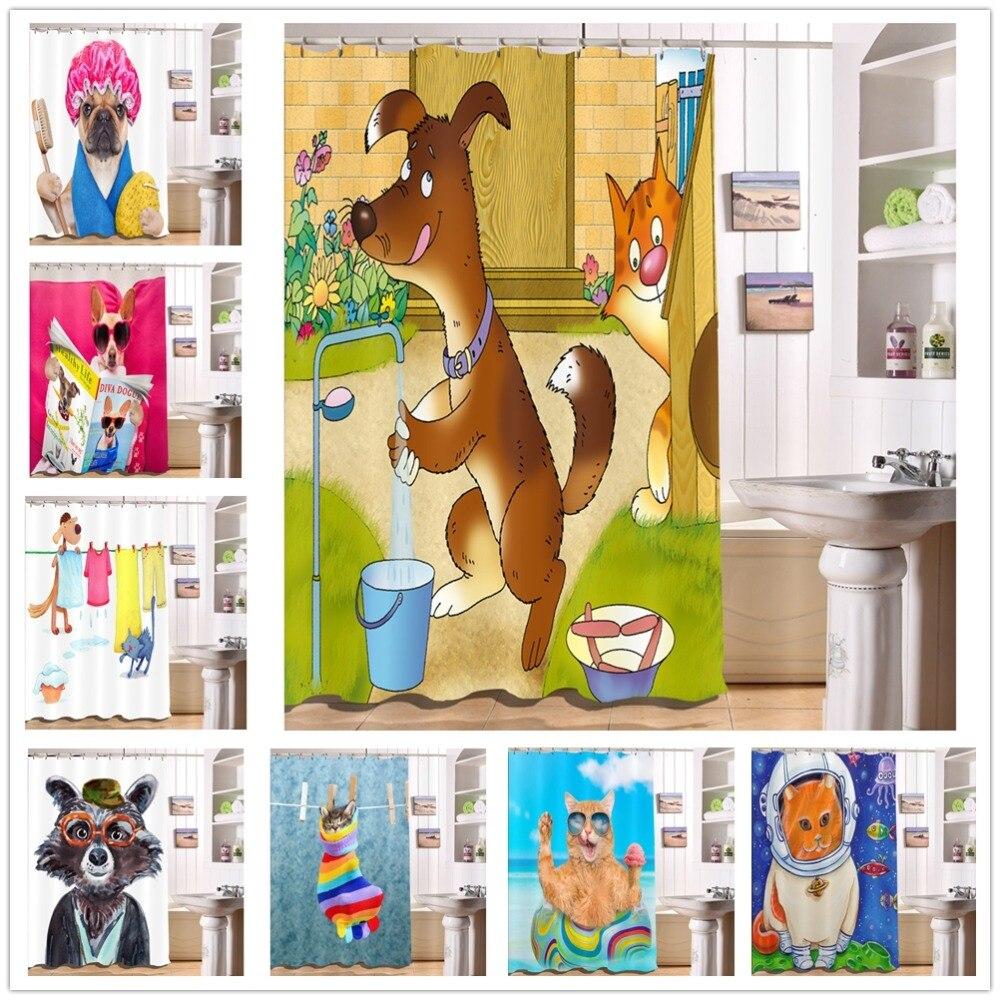 LB 3D Cartoon Cat Dog Funny Blue Sky Sea White Shower Curtains With Mat Set Bathroom Curtain Fabric Polyester for Bathtub Decor