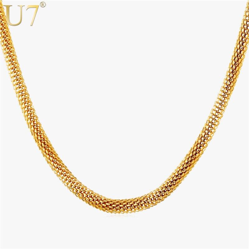 U7 de cadena de acero inoxidable de la joyería de los hombres de Color oro 2 opciones de tamaño redondo palomitas de maíz enlace collar de cadena para hombres al por mayor N454