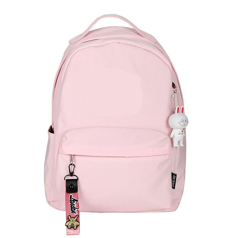 Colgante Rabbite, Mochila pequeña para mujer, mochila Kawaii de viaje, libro resistente al agua, mochila rosa, mochila de Nylon, bonitos bolsos escolares Rugzak