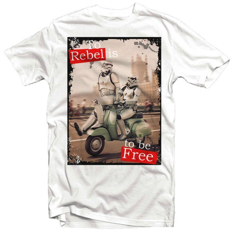 2019 Venda Hot 100% Algodão Stormtrooper London REBELDE Lambretta Vespa JEDI T-shirt Tee Verão Camisa Verão T Camisa Branca
