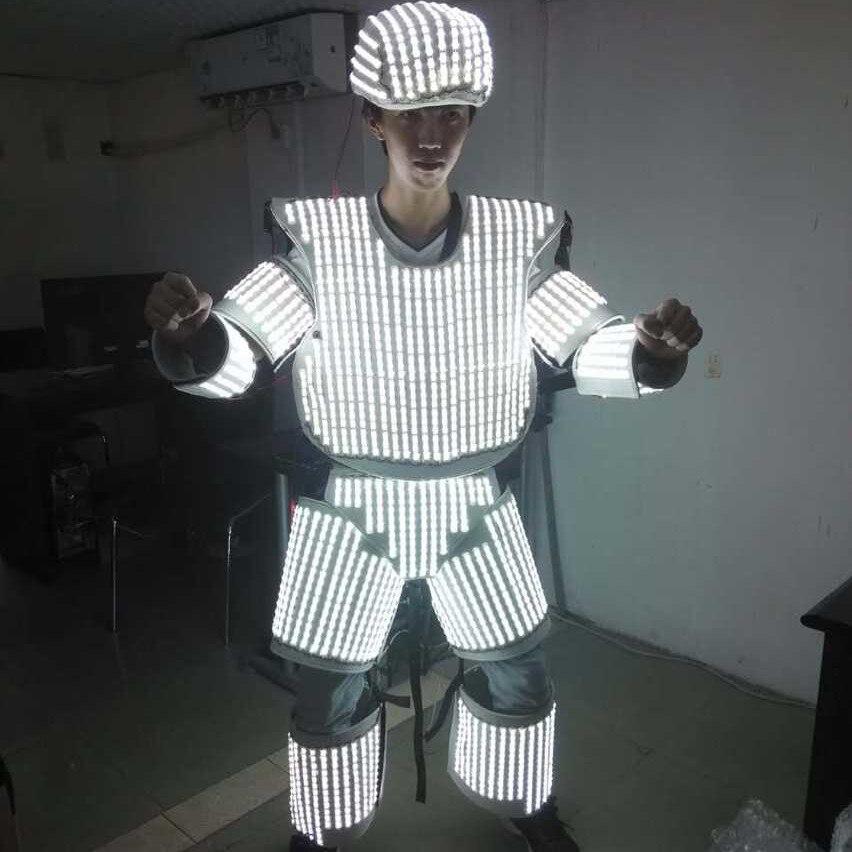 Nuevo traje de Robot de luz luminosa LED de Color blanco con casco para discotecas suministro de ropa de baile DJ
