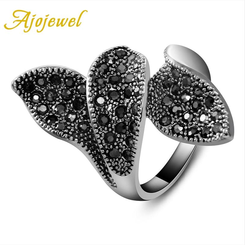 Ajojewel Brand New Black Ladies Jewelry Full Rhinestones Vintage Three Leaves Ring Women