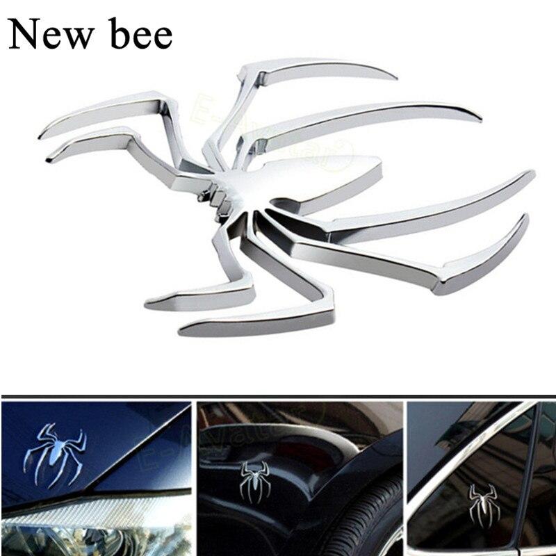 Accesorios de estilo Newbee para coche, 3D pegatina de Metal, insignia de araña cromada, pegatina de motocicleta para BMW VW Ford Toyota Honda Kia Opel