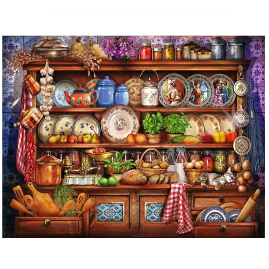 Kitchen Cabinet 5D Diy Diamond Painting Full Square Pattern Daimond Embroidery,Mosaic picture of Rhinestone Painting Crafts Z609