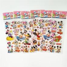 6 uds 3D Anime Minnie Mouse adhesivos de Mickey impermeable burbuja PVC DIY unicornio mario Adesivos niñas niños regalos juguetes de recompensa