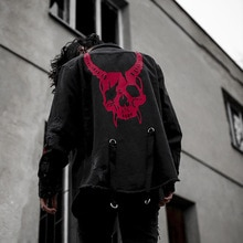 2020 Harajuku Gothic Dämon Hunter Schädel denim jacke männer Rock punk heavy metall Sweatshirt sudadera hosenträger loch streetwear