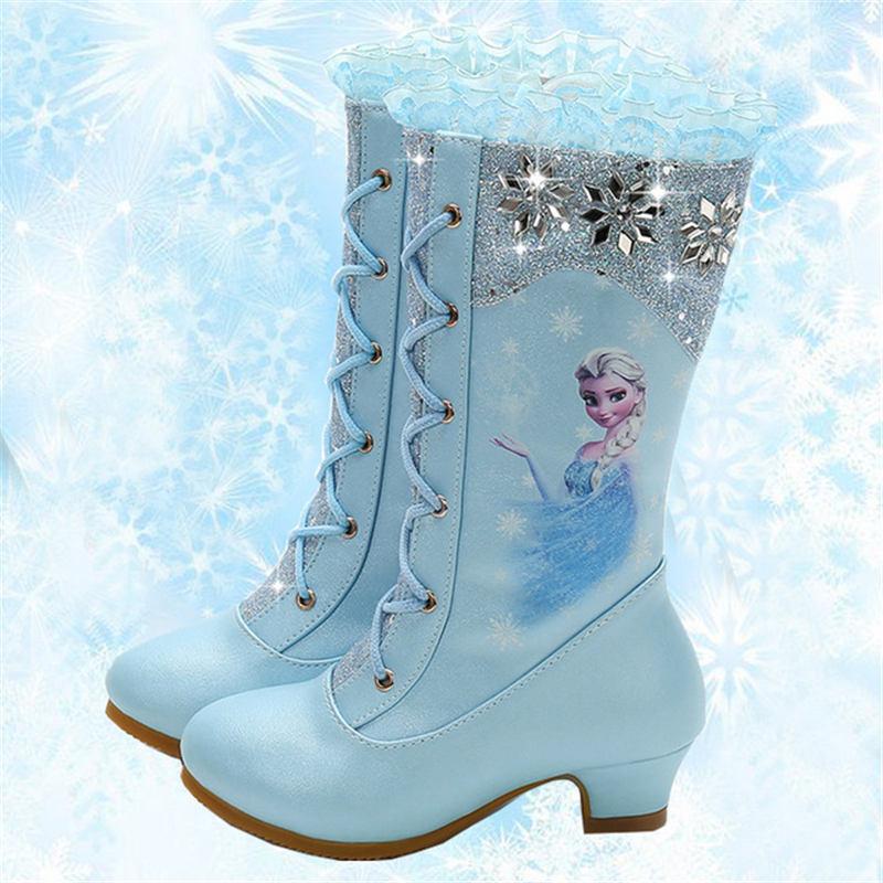2018 otoño e invierno nuevas botas altas niñas princesa de tacón alto niños lentejuelas nieve botas Frozen eu Tamaño 27-37
