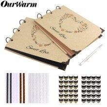 OurWarm-Album Photo de mariage 60 Pages bricolage   Livre dor Scrapbook, en papier Kraft, cadeaux danniversaire, livre de mémoire de voyage, pour anniversaire