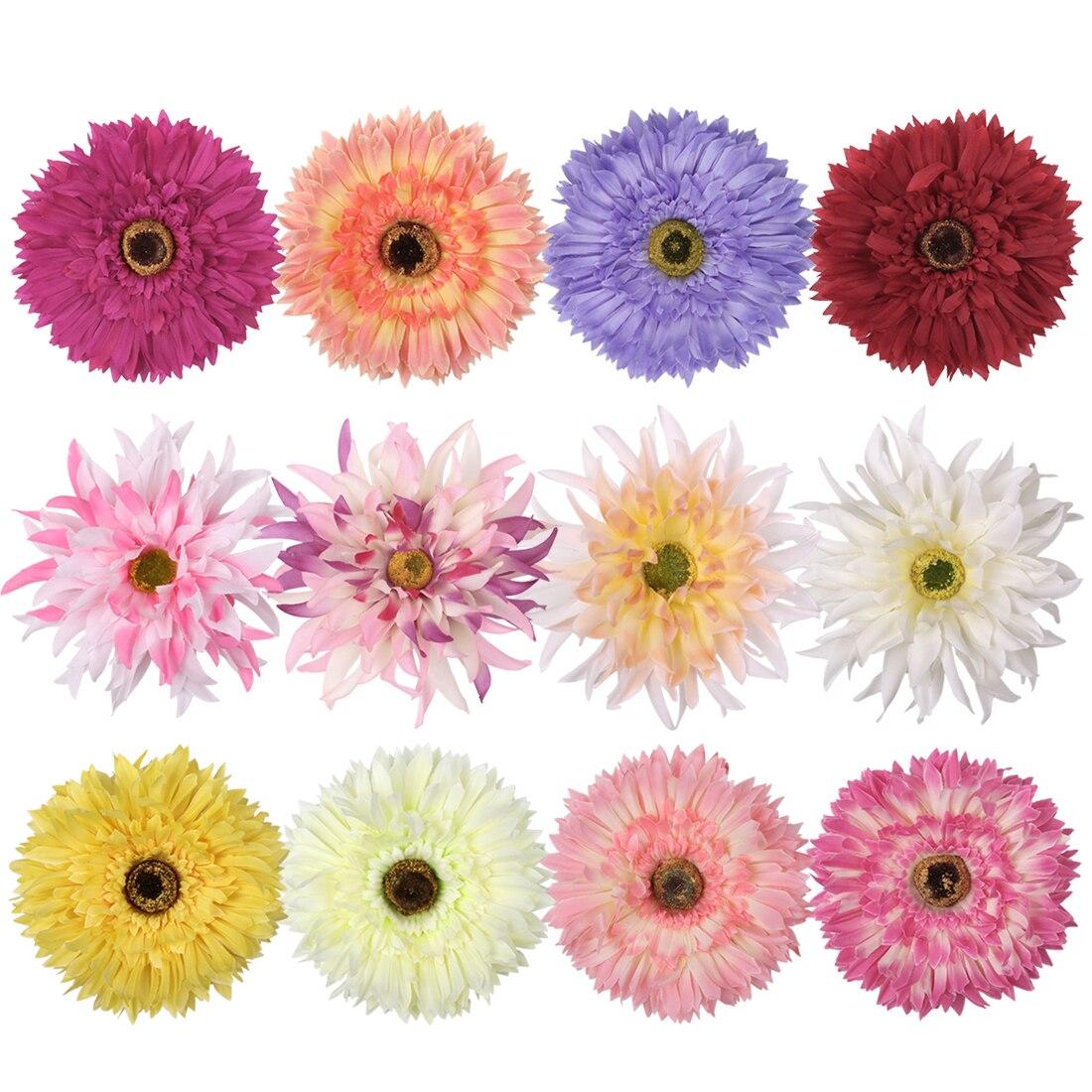 12 piezas 10 cm flor Artificial seda crisantemo cabeza Clips boda fiesta 12 colores joyería broche cabeza arcos flores