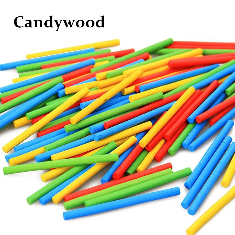 Lote de 100 unidades de juguetes para niños, varillas de madera coloridas Montessori, juguetes educativos, juguetes de inteligencia matemáticas