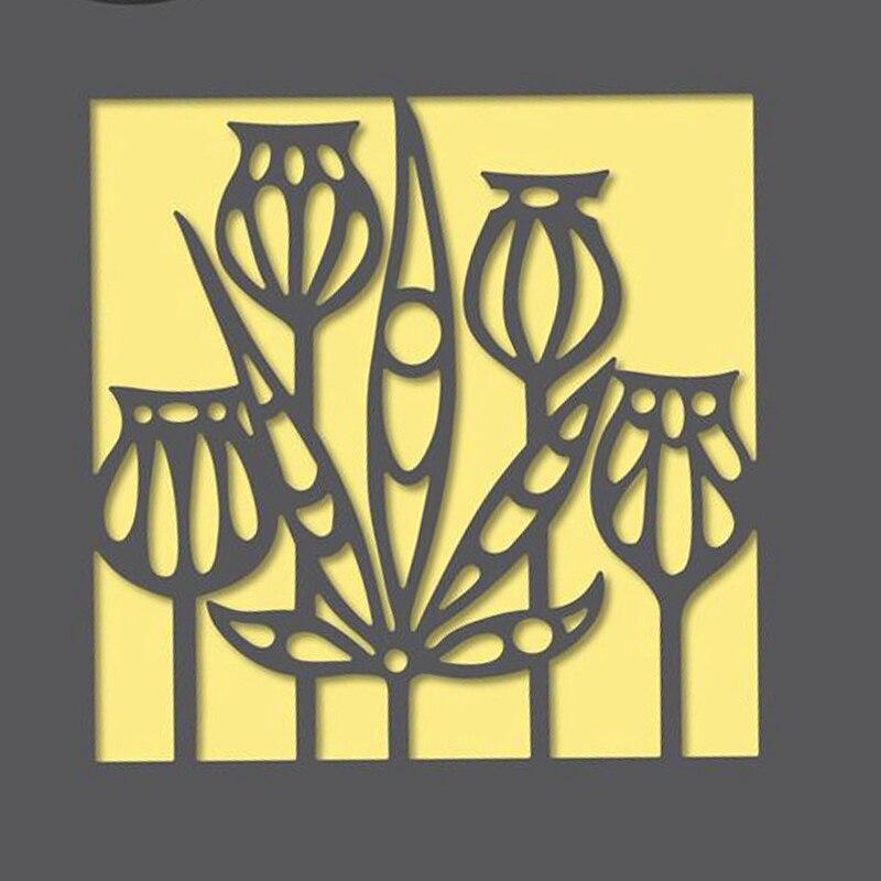Estênceis funky do corte do metal da flor de lótus da folhagem para diy scrapbooking decoração em relevo fornecedor ofício de papel cortado