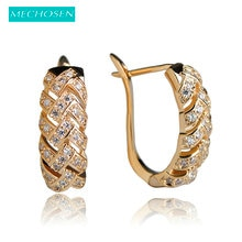 MECHOSEN Fashion Jewelry Stud Earrings Gold Color Rhinestone Aretes Bijoux For Women Luxury AAA Zirconia Princess Hooks Brincos