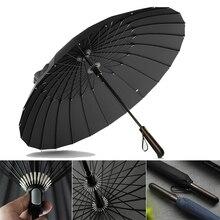 24 الأضلاع مظلة قوية يندبروف مظلة طويلة كبيرة الرجل والمرأة الأعمال المظلات